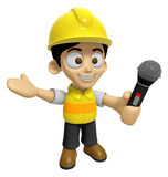 3D Construction Worker Man Mascot the hand is holding a Mic. Wor Stock Photography