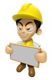 3D Construction Worker Man Mascot holding a big board with both Stock Photos