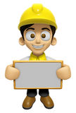 3D Construction Worker Man Mascot holding a big board with both Stock Image