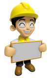 3D Construction Worker Man Mascot holding a big board with both Stock Images