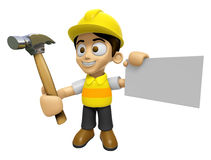 3D Construction Worker Man Mascot holding a with both hammer and Royalty Free Stock Photos