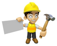 3D Construction Worker Man Mascot holding a with both hammer and Royalty Free Stock Image