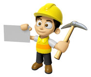 3D Construction Worker Man Mascot is holding electric pickax and Stock Photography
