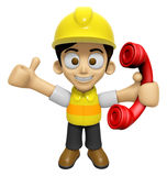 3D Construction Worker Man Mascot just calls me back when you ha Stock Photography