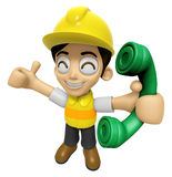 3D Construction Worker Man Mascot just calls me back when you ha Stock Images