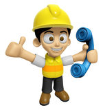 3D Construction Worker Man Mascot just calls me back when you ha Royalty Free Stock Images