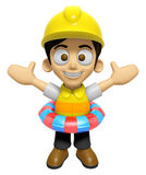 3D Construction Worker Man Mascot is played in the pool on a tub Stock Photos