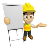 3D Construction Worker Man Mascot is presentation in front of th Royalty Free Stock Photo