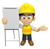 3D Construction Worker Man Mascot is presentation in front of th Stock Images
