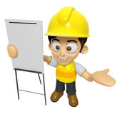 3D Construction Worker Man Mascot is presentation in front of th Stock Photos