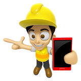 3D Construction Worker Man Mascot the right hand guides and the Stock Images