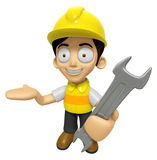 3D Construction Worker Man Mascot the right hand guides and the Stock Photography