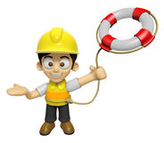 3D Construction Worker Man Mascot is throwing a Lifebelt. Work a Royalty Free Stock Photo