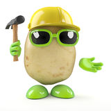 3d Construction worker potato Royalty Free Stock Photography