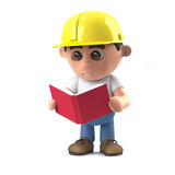 3d Construction worker reading a book Stock Image