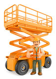 3D Construction worker with a scissor lift Stock Photo