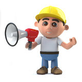 3d Construction worker shouts through a megaphone Royalty Free Stock Photo