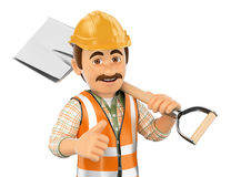 3D Construction worker with shovel and thumb up Stock Images