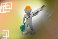 3D construction worker with spanner and safety helmet. In color background Stock Photos