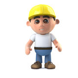 3d Construction worker stands ready Royalty Free Stock Photo
