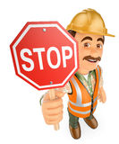 3D Construction worker with a stop signal Royalty Free Stock Photo