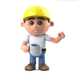 3d Construction worker takes a coffee break Royalty Free Stock Photo