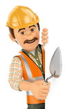 3D Construction worker with trowel pointing aside. Blank space Royalty Free Stock Photography