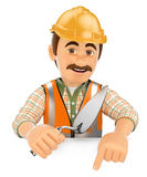 3D Construction worker with a trowel pointing down. Blank space Stock Photos