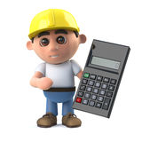 3d Construction worker using his calculator Royalty Free Stock Photos