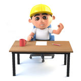 3d Construction worker waves from his desk Stock Photography