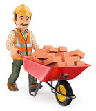 3D Construction worker with a wheelbarrow full of bricks Royalty Free Stock Images