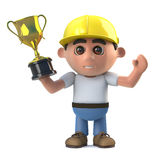 3d Construction worker wins a gold trophy award. 3d render of a construction worker holding a gold cup trophy award Royalty Free Stock Image
