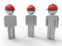 3D construction workers illustration. 3D rendered illustration of three construction workers. The composition is  on a white background with no shadows and the Stock Photo