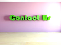 3d contact us text in room Royalty Free Stock Image