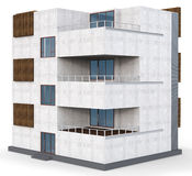 3d contemporary apartment block. On a white background Stock Photo