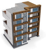 3d contemporary apartment block Stock Image