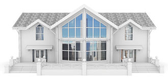 3d contemporary apartment block. On a white background 3D illustration Royalty Free Stock Photos