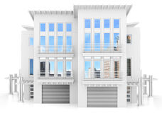 3d contemporary apartment block. On a white background 3D illustration Stock Photos