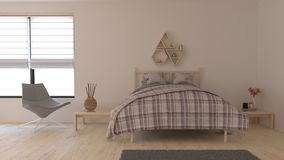 3D Contemporary Bedroom Interior vector illustration