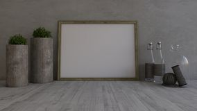 3D Contemporary Empty Room and picture frame. Render of 3D Contemporary Empty Room and picture frame Vector Illustration