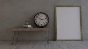 3D Contemporary Empty Room and picture frame stock photo