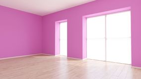 3D Contemporary Empty Room. Render of 3D Contemporary Empty Room vector illustration