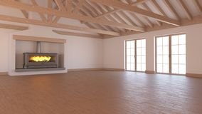 3D Contemporary Empty Room. Render of 3D Contemporary Empty Room royalty free illustration