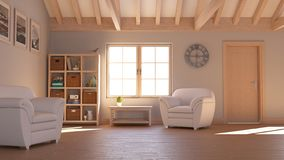 3D contemporary Living Room Interior and modern furniture royalty free stock photos