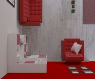 3D contemporary Living Room Interior and modern furniture. Render of 3D contemporary Living Room Interior and modern furniture royalty free illustration