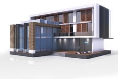 3d contemporary modern house. On a white background 3d illustration stock image