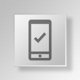 3D controllo mobile Mark Button Icon Concept Illustrazione Vettoriale