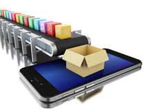 3d Conveyor belt with app icons and phone. Royalty Free Stock Photography