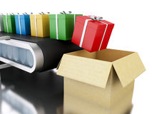 3d Conveyor belt with gifts. Royalty Free Stock Image