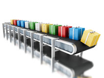 3d Conveyor belt with gifts. Stock Images